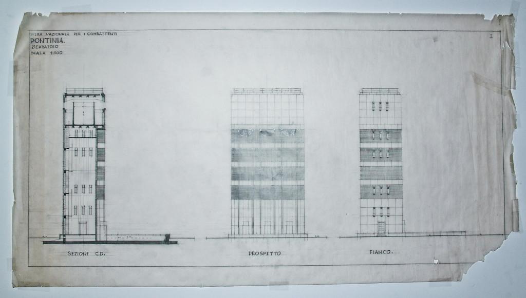 Progetto originale della Torre Idrica. Fotografia pubblicata con gentile concessione dell'Arch. Caponera.