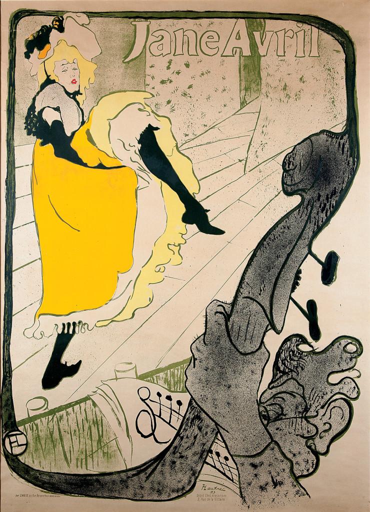 Henri de Toulouse-Lautrec, Jane Avril (Before Letters) ,1893. Color Lithography, 124x91,5 cm © Herakleidon Museum, Athens Greece